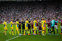 Players of NK Domzale during 2nd Leg football match between West Ham United FC and NK Domzale in 3rd Qualifying Round of UEFA Europa league 2016/17 Qualifications, on August 4, 2016 in London, England.  Photo by Ziga Zupan / Sportida