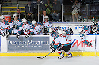 KELOWNA, CANADA - FEBRUARY 18: Damon Severson #7 of the Kelowna Rockets celebrates the second goal of the shoot out against the  Red Deer Rebels at the Kelowna Rockets on February 18, 2012 at Prospera Place in Kelowna, British Columbia, Canada (Photo by Marissa Baecker/Shoot the Breeze) *** Local Caption ***