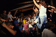 Clubbers dancing at a dance music event Slovakia Bratislava July 2002