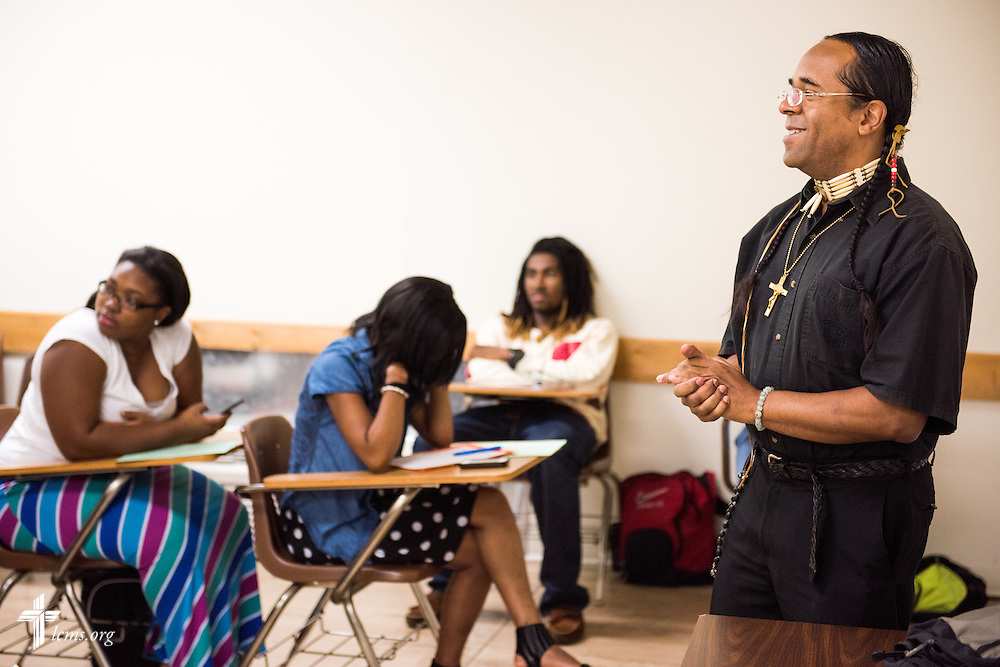 Dr. Victor Singingeagle, a member of the Potawatomi Nation, teaches composition class at Concordia College Alabama on Wednesday, August 20, 2014, in Selma, Ala.  LCMS Communications/Erik M. Lunsford