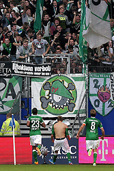 21.09.2013, Imtech Arena, Hamburg, GER, 1. FBL, Hamburger SV vs SV Werder Bremen, 6. Runde, im Bild Nils Petersen (Werder) bejubelt das 0:2, Sportler DFB Sport Deutschland Fussball Hamburger Sport Verein // during the German Bundesliga 6th round match between Hamburger SV and SV Werder Bremen at the Imtech Arena, Hamburg, Germany on 2013/09/21. EXPA Pictures © 2013, PhotoCredit: EXPA/ Eibner/ Andre Latendorf<br /> <br /> ***** ATTENTION - OUT OF GER *****