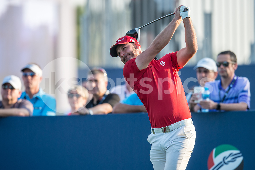 Paul Waring of England tees off during the European Tour DP World Championship at Jumeirah Golf Estates, Dubai, UAE on 16 November 2017. Photo by Grant Winter.
