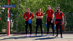 RUNCORN, ENGLAND - Tuesday, May 22, 2018: Wales' Chris Gunter, Aaron Ramsey, goalkeeper Wayne Hennessey and Joe Ledley at Runcorn Station as the squad travel by train as they head to Heathrow for a flight to Los Angeles ahead of the international friendly match against Mexico. (Pic by David Rawcliffe/Propaganda)