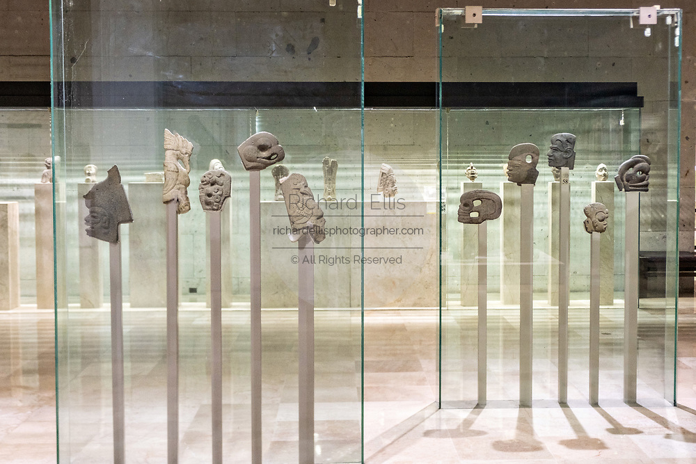 Stone sculptures from prehispanic Mesoamerican cultures on display at the Museum of Anthropology in the historic center of Xalapa, Veracruz, Mexico.