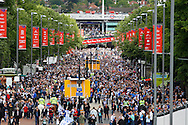 Crowds of supporters move along Wembley Way before the Sky Bet Championship Play Off final at Wembley Stadium, London<br /> Picture by Andrew Tobin/Focus Images Ltd +44 7710 761829<br /> 24/05/2014