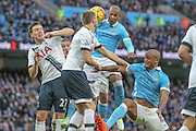 Man City get a header in on goal from a corner during the Barclays Premier League match between Manchester City and Tottenham Hotspur at the Etihad Stadium, Manchester, England on 14 February 2016. Photo by Mark P Doherty.
