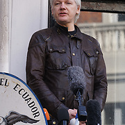 Julian Assange speaks at the Ecuador embassy after Swidish drop charges against Julian Assange on 19th MY 2017. London,UK. by See Li