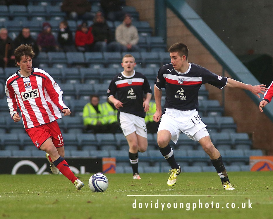 Declan Gallagher  and Francisco Borja  - Dundee v Kilmarnock in the Clydesdale Bank, Scottish Premier League at Dens Park .. - © David Young - www.davidyoungphoto.co.uk - email: davidyoungphoto@gmail.com