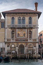The facade of the Palazzo Salviati (1924), home to the famous glass makers, in Venice. From a series of travel photos in Italy. Photo date: Tuesday, February 12, 2019. Photo credit should read: Richard Gray/EMPICS