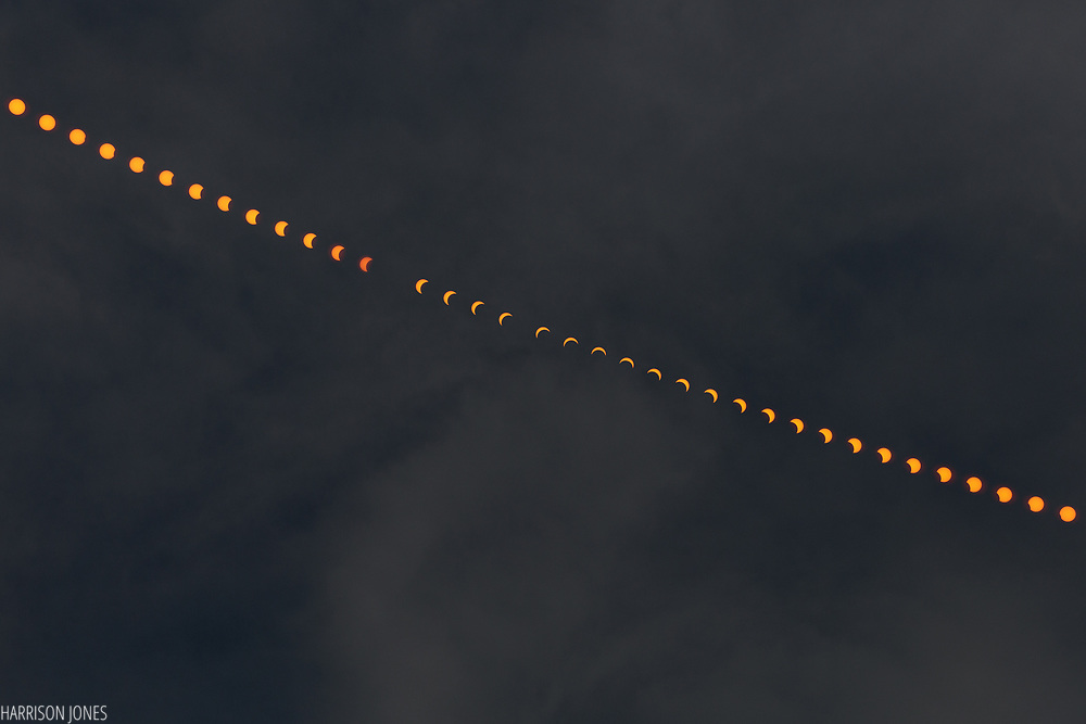 In an unmodified multiple exposure image taken over the course of three hours, the movement of the sun is seen through the many phases of an eclipse on Monday, Aug. 21, 2017 in Hanover, PA. The image was created by stacking exposures every 4 minutes, and completed with an exposure of the sky once the sun had left the frame.