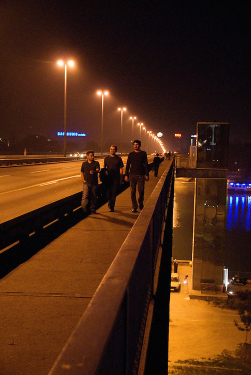 Brankov's Bridge in central Belgrade connects the 'New Belgrade' neighborhood with the old town on the other side of the Sava river. On Friday and Saturday nights it is full of party goers crossing the river to visit the splavs.