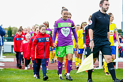 Captain Loren Dykes of Bristol City leads the team out - Mandatory by-line: Ryan Hiscott/JMP - 14/10/2018 - FOOTBALL - Stoke Gifford Stadium - Bristol, England - Bristol City Women v Birmingham City Women - FA Women's Super League 1