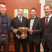 James Foudy, a member of the 1993 winning Inagh/Kilnamona team, with his three sons Brian,Seamus and Stephen, members of the 2014 winning Inagh/Kilnamona Team, at the Junior A Presentation Night at the Falls Ennistymon