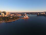 High above Sydney Harbour on a still morning