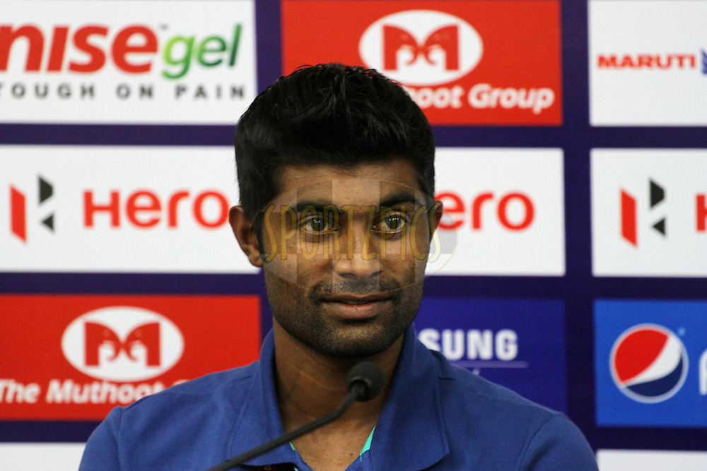 CS Sabeeth of Kerala Blasters FC during the press conference of match 17 of the Hero Indian Super League between FC Pune City and Kerala Blasters FC held at the Shree Shiv Chhatrapati Sports Complex Stadium, Pune, India on the 30th October 2014.<br /> <br /> Photo by:  Vipin Pawar/ ISL/ SPORTZPICS