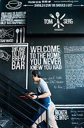 Interior of  Tom and Serg cafe in Al Quoz district of Dubai United Arab Emirates