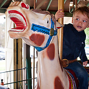 little boy riding a galloping carousel horse, looking expectantly ahead