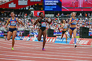 Rushell CLAYTON of Jamaica wins the Women's 400m Hurdles during the Muller Anniversary Games 2019 at the London Stadium, London, England on 21 July 2019.