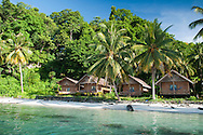 Pulau Batudaka, Togean Islands, Central Sulawesi, Indonesia. Island Retreat is a resort with tradtional style stilted houses built by Sylvie Manley. The Togean or Togian Islands are an archipelago of 56 islands and islets, in the Gulf of Tomini, off the coast of Central Sulawesi, in Indonesia. The dark green of the islands and the cristal clear water is a perfect setting and has attracted many travellers during the last years. Travellers endure the long journey in search of the mythical beach paradise. Photo by Frits Meyst/Adventure4ever.com