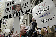 Jim Thompson of Bartlett, Illinois participates in a protest demanding gay marriage rights in front of the Cook County Building in Chicago. Thompson says he is in a gay relationship that has lasted 20 years and would like to get married
