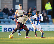 18th November 2017, Dens Park, Dundee, Scotland; Scottish Premier League football, Dundee versus Kilmarnock; Dundee's Roarie Deacon holds off Kilmarnock's Greg Taylor