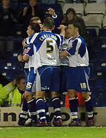 Photo: Paul Greenwood.<br />Bury v Hereford United. Coca Cola League 2. 30/01/2007. Richie Baker, hidden, is surrounded by celebrating team mates.