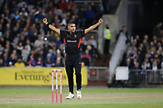 Leicestershire Foxes Ben Mike celebrates a wicket  during the Vitality T20 Blast North Group match between Lancashire Lightning and Leicestershire Foxes at the Emirates, Old Trafford, Manchester, United Kingdom on 30 August 2019.