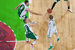 Jaka Blazic of Union Olimpija & Edo Muric and Smiljan Pavic of Krka during basketball match between KK Union Olimpija and KK Krka in 4nd Final match of Telemach Slovenian Champion League 2011/12, on May 24, 2012 in Arena Stozice, Ljubljana, Slovenia. Krka defeated Union Olimpija 65-55. (Photo by Grega Valancic / Sportida.com)