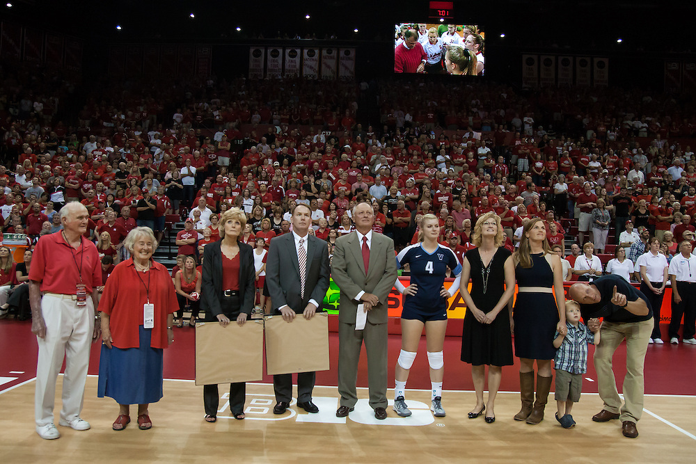 September 6, 2013: The court is being named  after former Nebraska head coach Terry Pettit before taking on the Villanova Wildcats at the Devaney Sports Center in Lincoln, Nebraska. Nebraska defeated Villanova three sets to one.