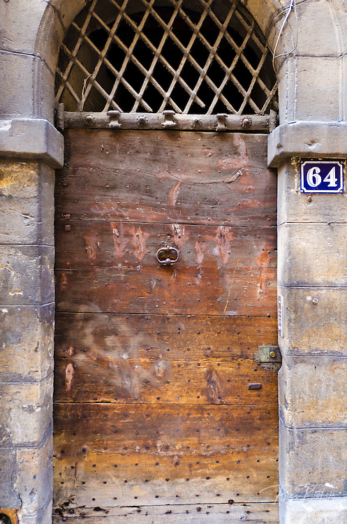 Wooden door in old town Vieux Lyon, France (UNESCO World Heritage Site)