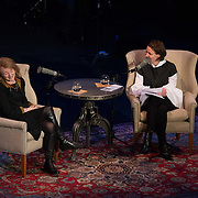 NHPR's Virginia Prescott interviews journalist and author Krista Tippett during a Writers on a New England Stage show at The Music Hall in Portsmouth, NH