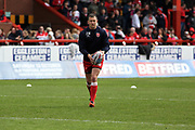 Hull Kingston Rovers half back Danny McGuire (7) warming up prior to the Betfred Super League match between Hull Kingston Rovers and Leeds Rhinos at the Lightstream Stadium, Hull, United Kingdom on 29 April 2018. Picture by Mick Atkins.