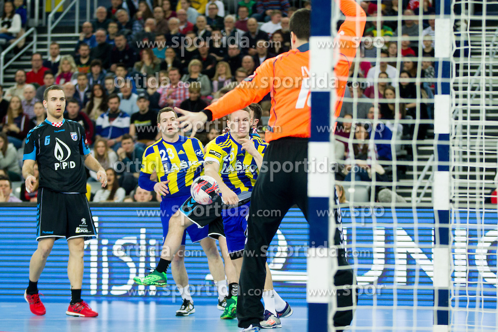 of RK Celje Pivovarna Lasko during handball match between PPD Zagreb (CRO) and RK Celje Pivovarna Lasko (SLO) in 13th Round of Group Phase of EHF Champions League 2015/16, on February 27, 2016 in Arena Zagreb, Zagreb, Croatia. Photo by Urban Urbanc / Sportida