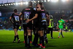 Phil Dollman of Exeter Braves celebrates scoring his sides third try of the game  - Mandatory by-line: Ryan Hiscott/JMP - 01/04/2019 - RUGBY - Sandy Park Stadium - Exeter, England - Exeter Braves v Harlequins - Premiership Rugby Shield