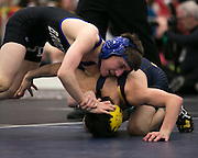 Cody Anders of Brockport and Tyler Mitchell of Spencerport compete in the championship match for the 99-pound weight class at the state qualifying wrestling meet at the College and Brockport on Saturday, February 14, 2015.