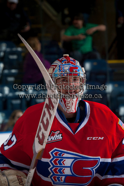 KELOWNA, CANADA - FEBRUARY 17: Dawson Weatherill #37 of the Spokane Chiefs stands on the ice during warm up against the Kelowna Rockets on February 17, 2017 at Prospera Place in Kelowna, British Columbia, Canada.  (Photo by Marissa Baecker/Shoot the Breeze)  *** Local Caption ***