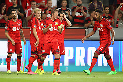 26.08.2015, BayArena, Leverkusen, GER, UEFA CL, Bayer 04 Leverkusen vs Lazio Rom, Playoff, Rückspiel, im Bild vl: Roberto Hilbert (Bayer 04 Leverkusen #13), Julian Brandt (Bayer 04 Leverkusen #19), Lars Bender (Bayer 04 Leverkusen #8), Robbie Kruse (Bayer 04 Leverkusen #27) und Jonathan Tah (Bayer 04 Leverkusen #4) nach dem Abpfiff // during UEFA Champions League Playoff 2nd Leg match between Bayer 04 Leverkusen and SS Lazio at the BayArena in Leverkusen, Germany on 2015/08/26. EXPA Pictures © 2015, PhotoCredit: EXPA/ Eibner-Pressefoto/ Schueler<br /> <br /> *****ATTENTION - OUT of GER*****