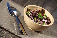 Studio shot of salad at wooden table