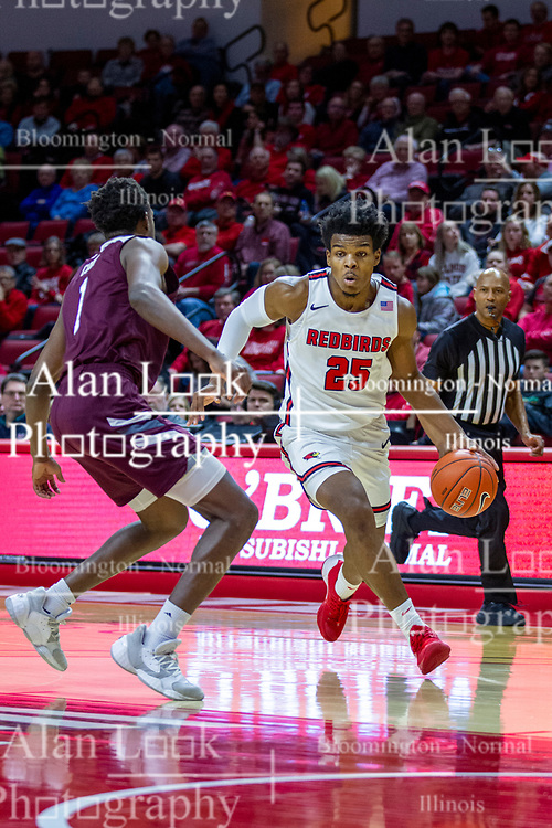 NORMAL, IL - January 07: Jaycee Hillsman runs in defended by Keandre Cook during a college basketball game between the ISU Redbirds and the University of Missouri State Bears on January 07 2020 at Redbird Arena in Normal, IL. (Photo by Alan Look)