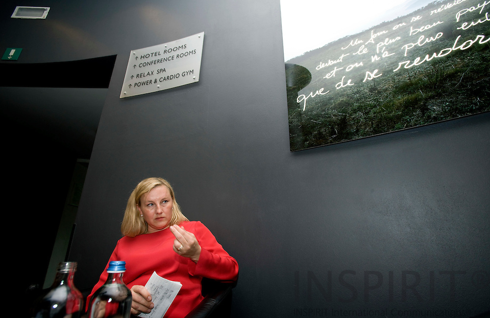 BRUSSELS - BELGIUM - 02 OCTOBER 2007 -- Handelsminister Ewa BJÖRLING holder pressträff på hotell Silkens i Bryssel. Photo: Erik Luntang