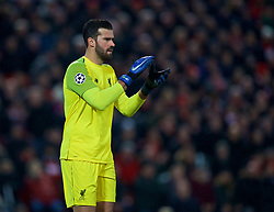LIVERPOOL, ENGLAND - Tuesday, December 11, 2018: Liverpool's goalkeeper Alisson Becker during the UEFA Champions League Group C match between Liverpool FC and SSC Napoli at Anfield. (Pic by David Rawcliffe/Propaganda)