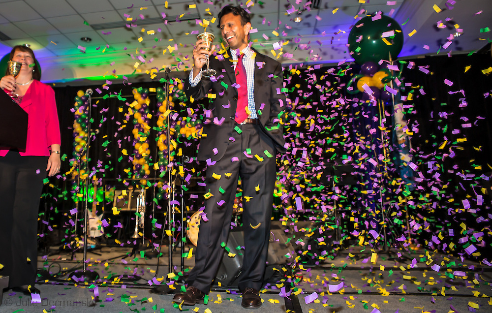 "July 9, 2015, New Orleans, LA Louisiana Gov. Bobby Jindal after giving a keynote speech to a group of supporters at the National Right to Life Convention in the Marriot Hotel. ""If the Republican Party cannot make defending the defenseless into a winning issue, they should just close up shop,""  Jindal told them. He boasted that Louisiana has been ranked as the ""most pro-life state for the last six years,"" according to Americans United for Life. However according to Associated Press, Louisiana was one of two states, (Michigan is the other) — where abortions are on the rise from 2010 to 2014. <br /> <br /> Jindal was on the offensive, attacking Obama, Hillary and all of the other Republican Candidates, who in his eyes are not embracing Republican principles deeply enough, at least not like he is. <br /> He talked about killing islamic terrorist in front of a sign the read ""Life,' that was made out of balloons."