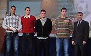 OLIMPIJSKI KOMITET, BEOGRAD, 17. Dec. 2010. - Najbolji mladi tim. Mlada kosarkaska reprezentacija koja je osvojila zlato na turniru u 'basketu 3 na 3', na Olimpijadi mladih dobitnici su Trofeja Olimpijskog komiteta Srbije. Svecanost provodom proglasenja najboljih sportista Srbije za 2010. godinu po izboru Olimpijskog komiteta Srbije.  Foto: Nenad Negovanovic