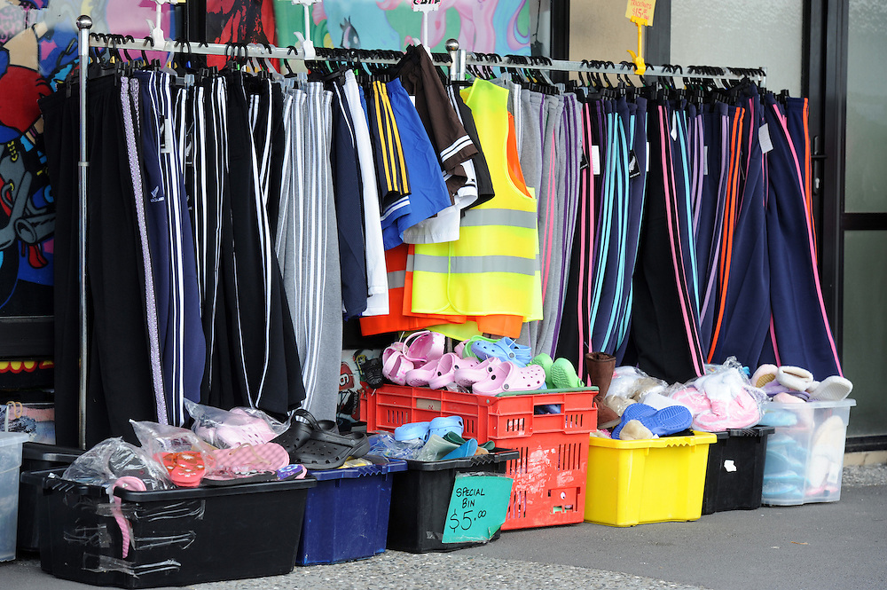 Clothes stall, Whangamata, New Zealand, Sunday, August 26, 2012. Credit:SNPA / Ross Setford