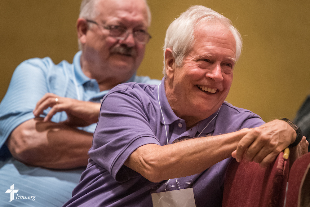 "Delegates react during an open hearing of Floor Committee #13 ""Routes to Ministry"" at the 66th Regular Convention of The Lutheran Church–Missouri Synod on Saturday, July 9, 2016, in Milwaukee. LCMS/Frank Kohn"