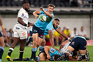 SYDNEY, AUSTRALIA - APRIL 27: Waratahs player Jake Gordon (9) passes the ball at round 11 of Super Rugby between NSW Waratahs and Sharks on April 27, 2019 at Western Sydney Stadium in NSW, Australia. (Photo by Speed Media/Icon Sportswire)