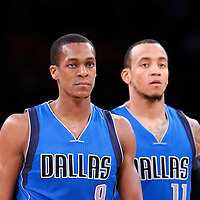 12 April 2014: Dallas Mavericks guard Rajon Rondo (9) is seen next to Dallas Mavericks guard Monta Ellis (11) during the Dallas Mavericks 120-106 victory over the Los Angeles Lakers, at the Staples Center, Los Angeles, California, USA.