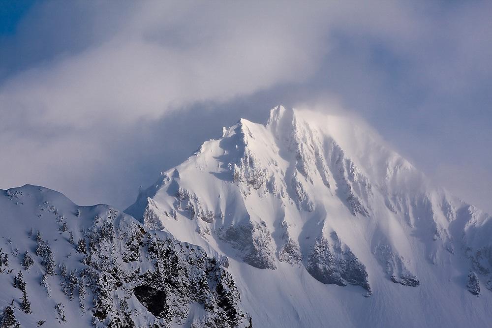Dramatic Atwell Peak, part of the Mount Garibaldi Massif, from the Elfin Lakes Hut, Garibaldi Provincial Park, British Columbia, Canada.