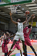 Shot of Alade Aminu of Nanterre 92 team and defense of Josh Mayo and Julian Gamble of Telekom Baskets Bonn during the Champions League, Group D, basketball match between Nanterre 92 and Telekom Baskets Bonn on January 24, 2018 at Palais des Sports Maurice Thorez in Nanterre, France - Photo I-HARIS / ProSportsImages / DPPI
