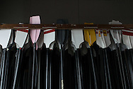 Photo rowing oars wall art. Colorful crew oars in a boathouse. Matted print, limited edition. San Diego boathouse, Southern California modern photography. Fine art photography print.